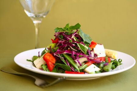 Healthy and Light Mixed Salad With a Fork and Glass Stock Photo - 2527179