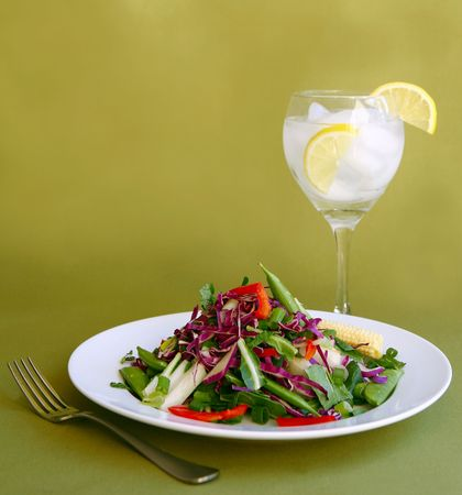 Light Salad With Water and Lemon as a Healthy Meal Stock Photo