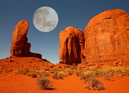 Moon Over Monument Valley, Navajo Nation, Arizona USA  photo