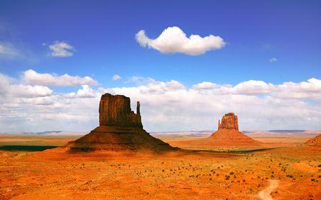 記念碑の谷のアリゾナ州でのシャドウのビュート