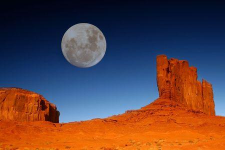 Daytime Moon in Monument  Valley, Navajo Nation, Arizona USA Stock Photo - 2908260