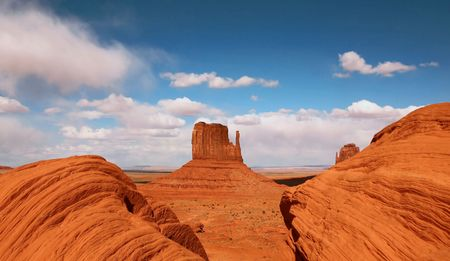 Horozontal View of Monument Valley, Navajo Nation, Arizona USA  photo