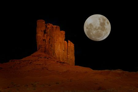 Evening Moon in Monument Valley, Navajo Nation, Arizona USA  photo