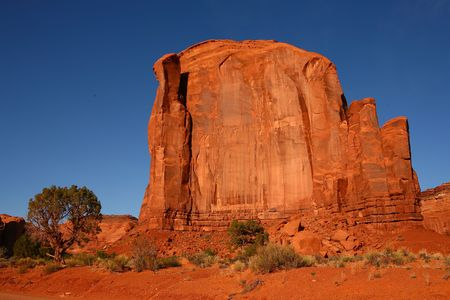butte: Large Butte in Monument Valley Arizona Stock Photo