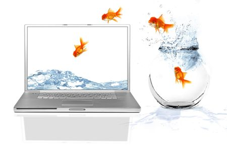Goldfish Escaping Their World Jumping Out of Their Aquarium Into a Virtual World photo