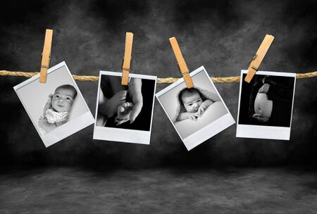 clothespin and rope: Photos of an Newborn Infant and Pregnancy Shots Hanging on a Rope With Clothespins Stock Photo