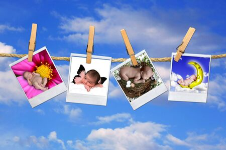 clothespin and rope: Fantasy Portraits of Infant Girls in Polaroid Film Hanging on a Clothesline Against Sky Background Stock Photo