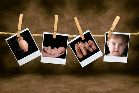 albums: Photos of an Newborn Infant and Pregnancy Shots Hanging on a Rope With Clothespins Stock Photo