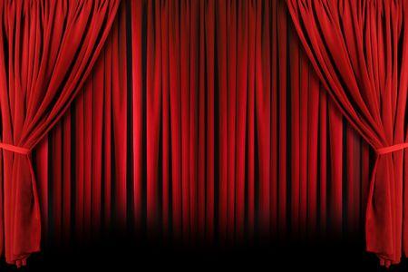 Rode gordijnen gedrapeerd theater podium met licht en schaduw Stockfoto