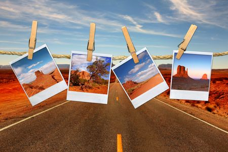 Conceptual Montage Representing Vacation Travel With Photos of Moument Valley Desert Hanging on a Rope