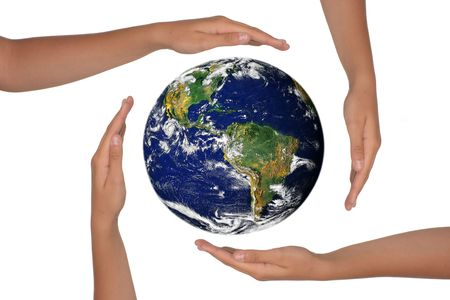 Young Hands Surrounding the Globe of the Future Stock Photo - 3300949