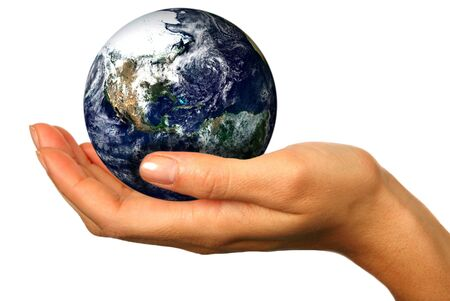 Human Hand Holding the World in Her Hands Stock Photo - 3300944