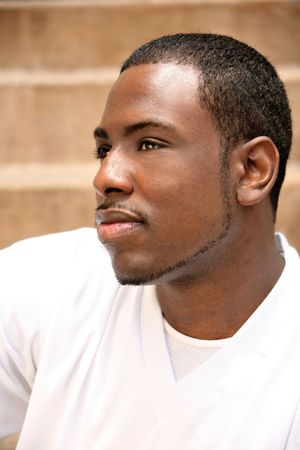 Handsome African American Man Thinking About His Life photo