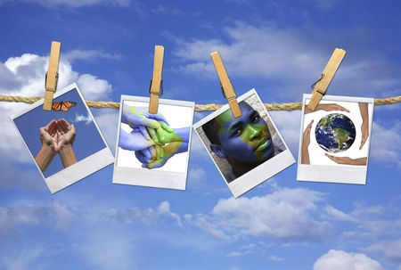 international internet: Photos with the concept of Global Issues Hanging on a Rope With Clothespins Stock Photo