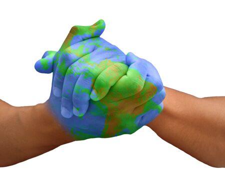 educazione ambientale: Mani dipinte come un pianeta che rappresentano questioni globali isolato su bianco