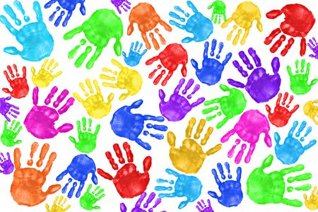 Multiple Painted Handprints of School Age Preschool Children Stock Photo