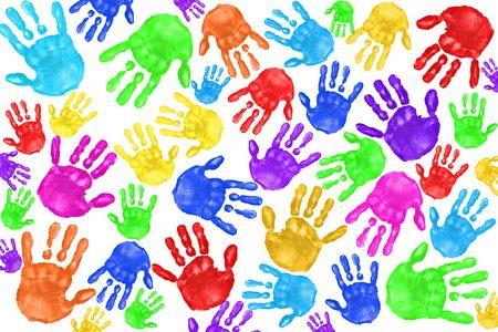 handprints: Multiple Painted Handprints of School Age Preschool Children Stock Photo