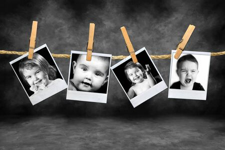 clothespin and rope: Photos of Toddlers with Many Expressions Against a Grunge Mottled Background