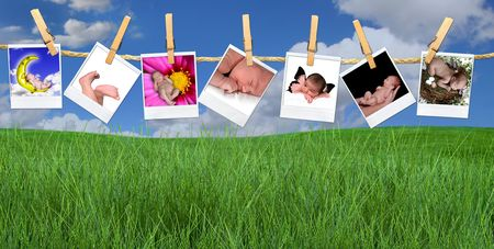 the album announcement: Seven Images of Cute Infants Hanging on a Rope By Clothespins and Twine