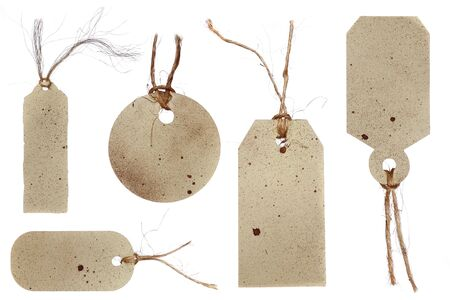 matte: Splattered Price Tags Tied With Twine Rope in a Grunge Style