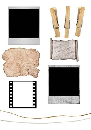 assemble: Elements to Create Your Own Photograph or Grunge Paper Hanging From Clothesline With Clothespins.