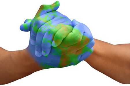 Male Hands Painted Like the Planet Earth Stock Photo - 3392559