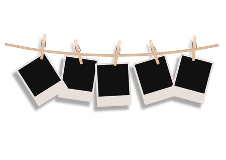 5 Polaroid Film Blanks Hanging on a Rope With Editable Drop Shadow