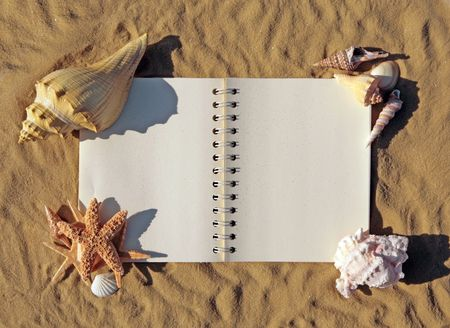 Old Open Book Surrounded By Seashells and Starfish  photo
