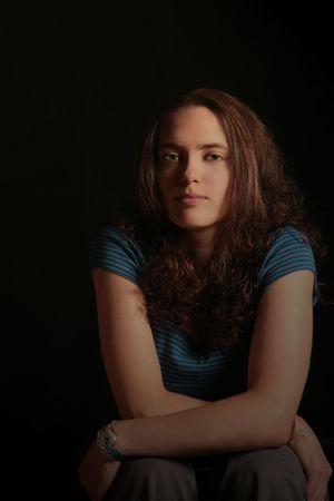 Dark Portrait of a Beautiful Russian Woman With Dramatic Eyes Stok Fotoğraf