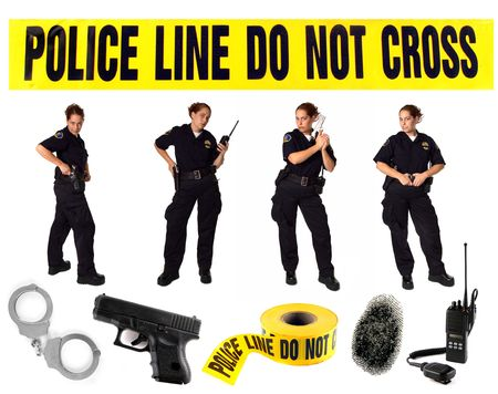 Multiple Poses of a Uniformed Police Officer on White With Misc Related Items photo