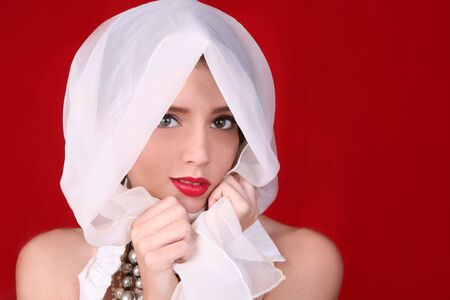 Stunning Woman With Big Beautiful Eyes on Red Background Stock Photo - 3574886