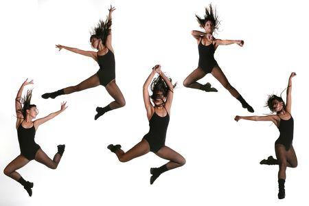 turnanzug: Mehrere Jump Poses einer Modern Dancer in Fishnets und ein Leotard  Lizenzfreie Bilder