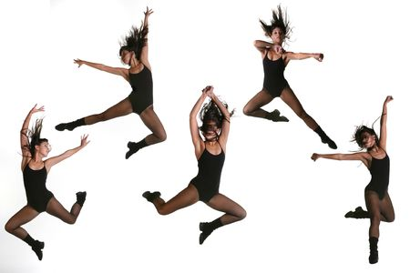 Multiple Jump Poses of a Modern Dancer in Fishnets and a Leotard