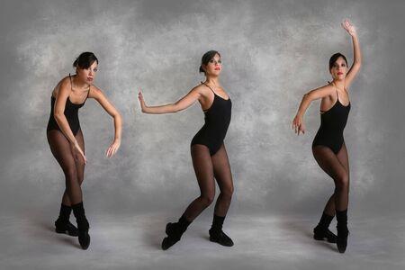 Beautiful Modern Dancer in Various Poses on Mottled Studio Background