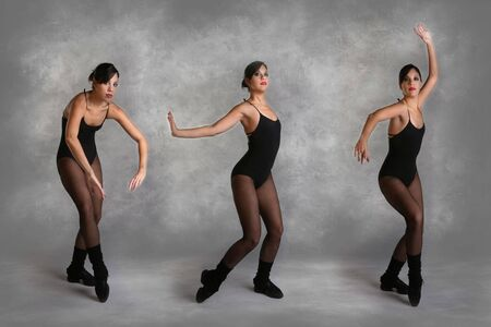 turnanzug: Sch�ne moderne T�nzerin in verschiedenen Posen auf Mottled Studio Hintergrund