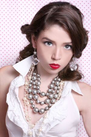 Beautiful Woman Dressed in Retro Vintage Style Wearing Pearls Stock Photo - 3596721