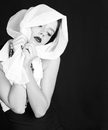 Beautiful Woman Dressed in Retro Vintage Style With Scarf on Her Head in Black and White Stock Photo - 3601648
