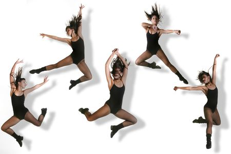 jazz dance: Multiple Images of a Modern Dancer Striking Various Poses While Jumping