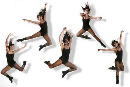 Plusieurs images d'un danseur moderne frappant divers pose tout de saut d'obstacles  Banque d'images - 3596652