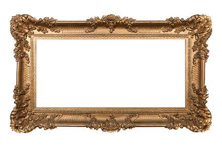 Elaborar Oro Imagen Marco aislados en blanco fácil de extracción Foto de archivo