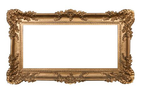 Elaborate Golden Picture Frame Isolated on White Easily Extracted