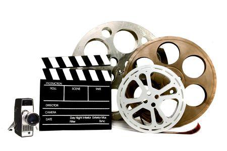 Studio Film objecten vaten Vintage Video Camera en directeur klepel Stockfoto