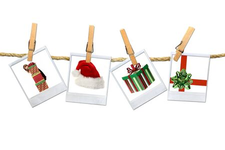feature films: Christmas Related Photos Hanging on a Rope. Easily Extracted For Your Design