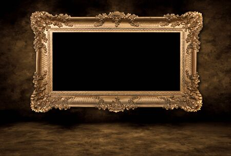 baroque border: Baroque Style Blank Picture Frame on Grungy Distressed Wall  Stock Photo