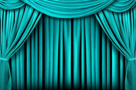 Beautiful Teal Indoor Theater Stage Background With Dramatic Lighting photo