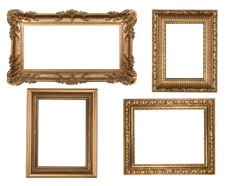 antique frame: Decorative Gold Empty Wall Picture Frames Insert Your Own Design Stock Photo