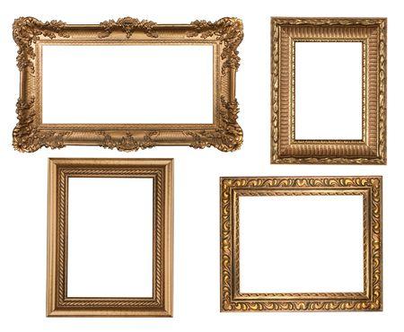 marco madera: Pel�culas en oro pared vac�a marcos insertar su propio dise�o Foto de archivo