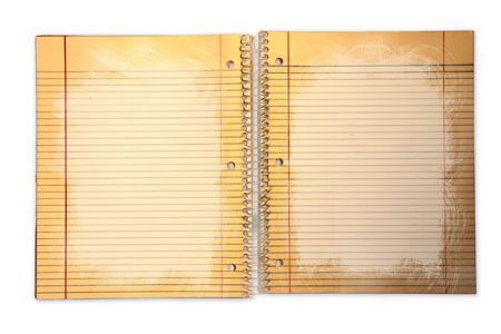 paper sheet: Distressed Lined School Paper in a Binder on Grunge Background Stock Photo