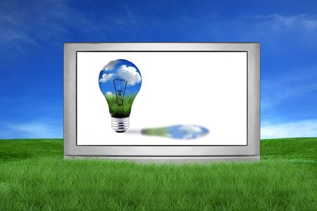 Large Screen Television With Green Global Energy Concept photo