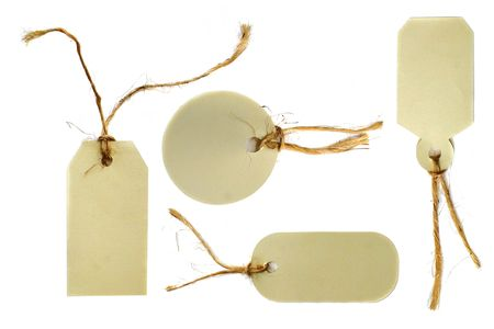 matte: Cut Out Tags Tied With Rope Twine on White Background